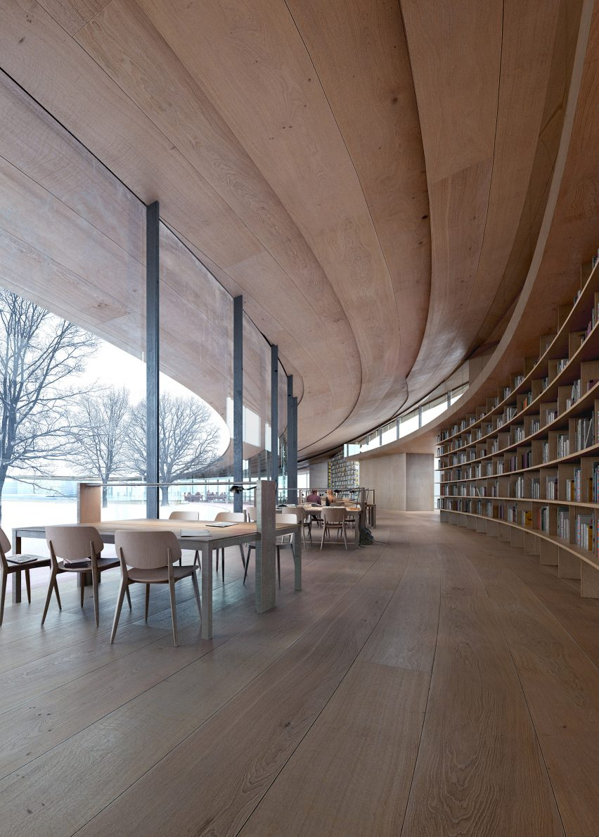 A visual of wooden interiors by Kengo Kuma