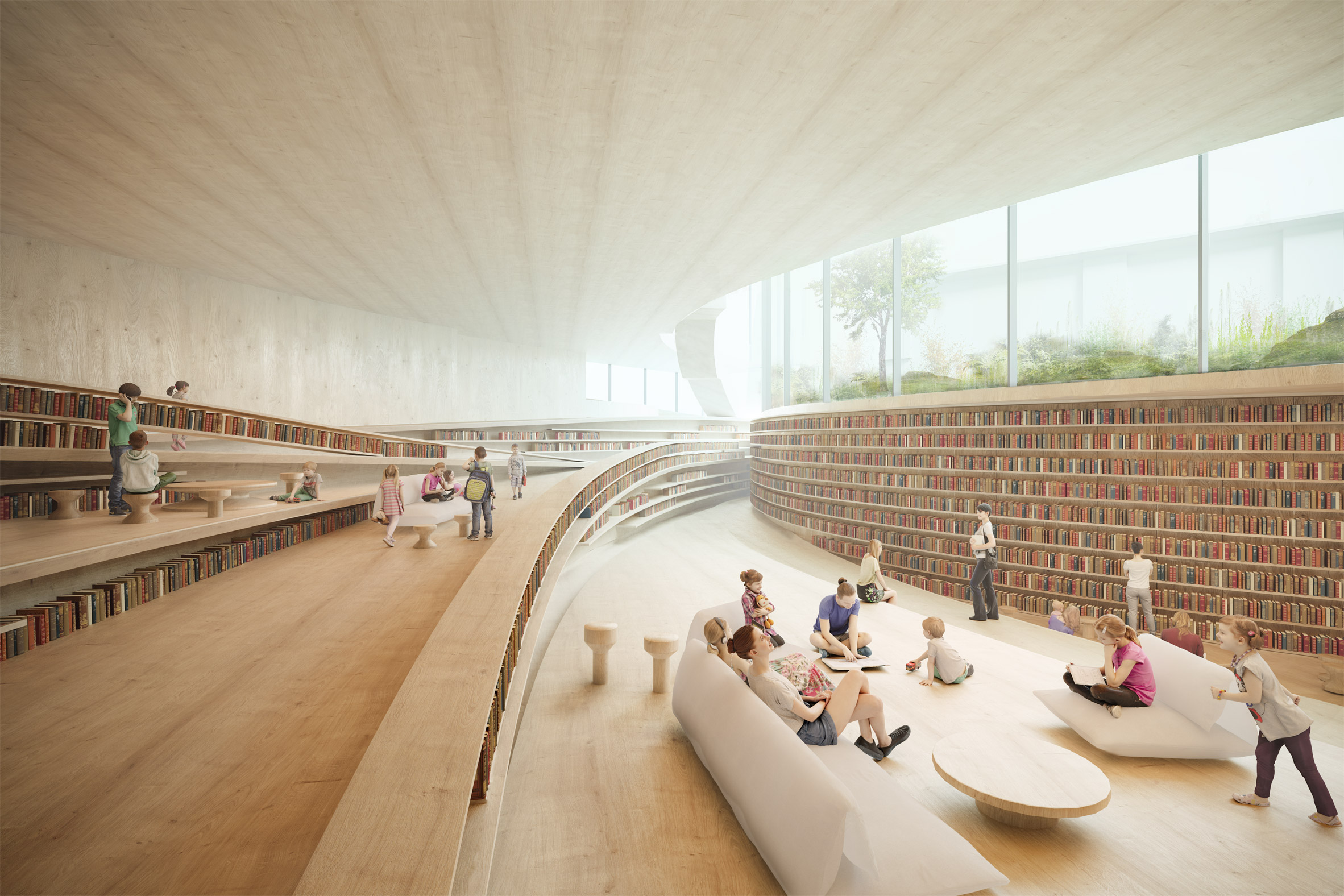 A visual of a stepped, wooden reading room