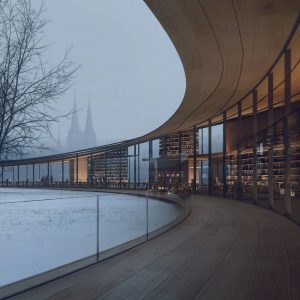 A curved wooden library lined with glazed walls