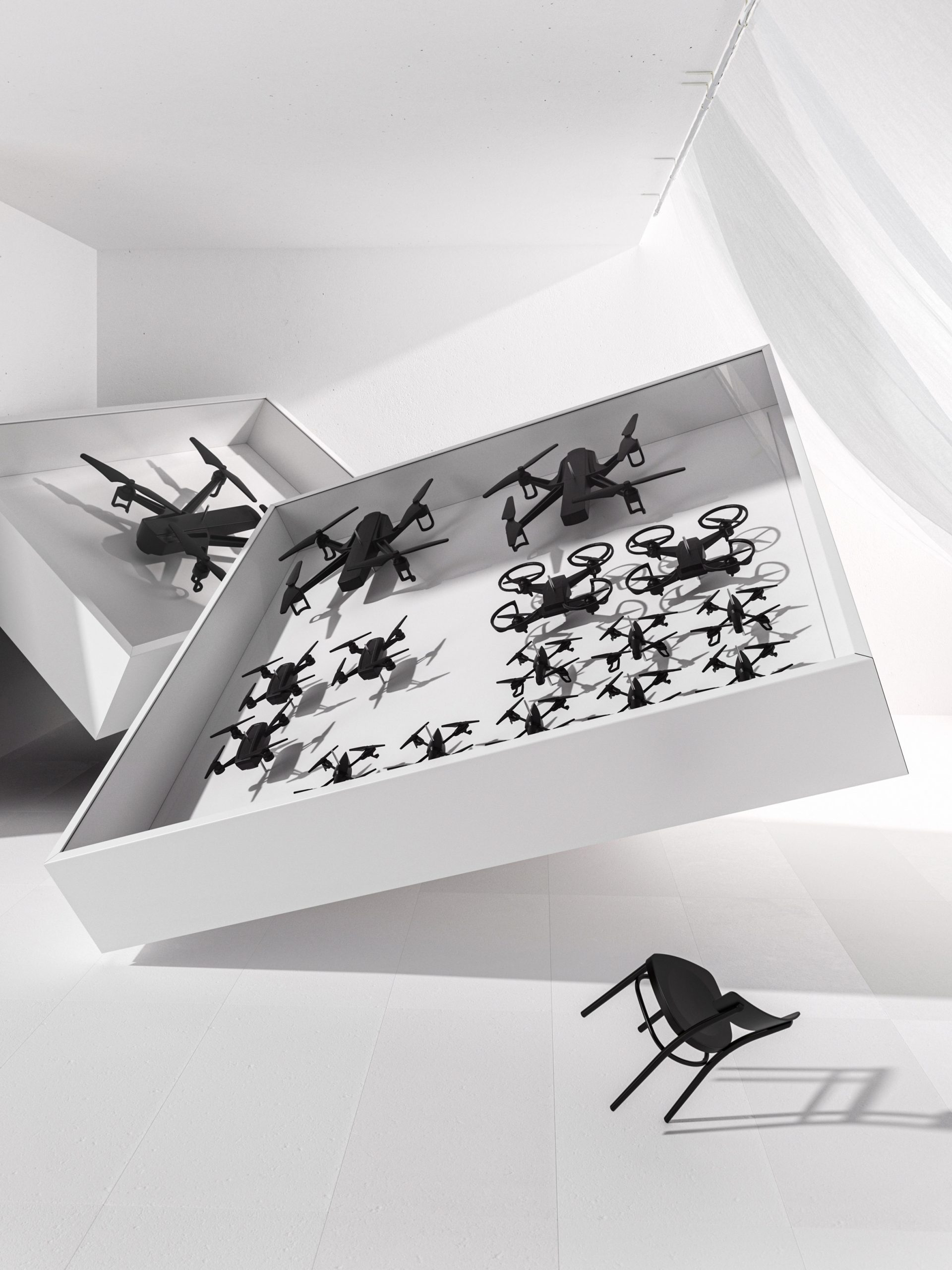 Drones in display case by Humans since 1982 for Ikea art event 2021