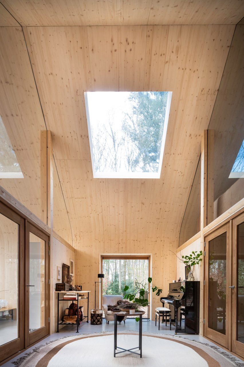 A hallway in a prefabricated wooden cabin