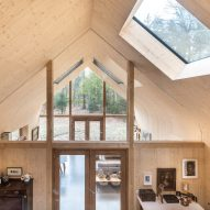 The wood-lined interiors of a forest cabin