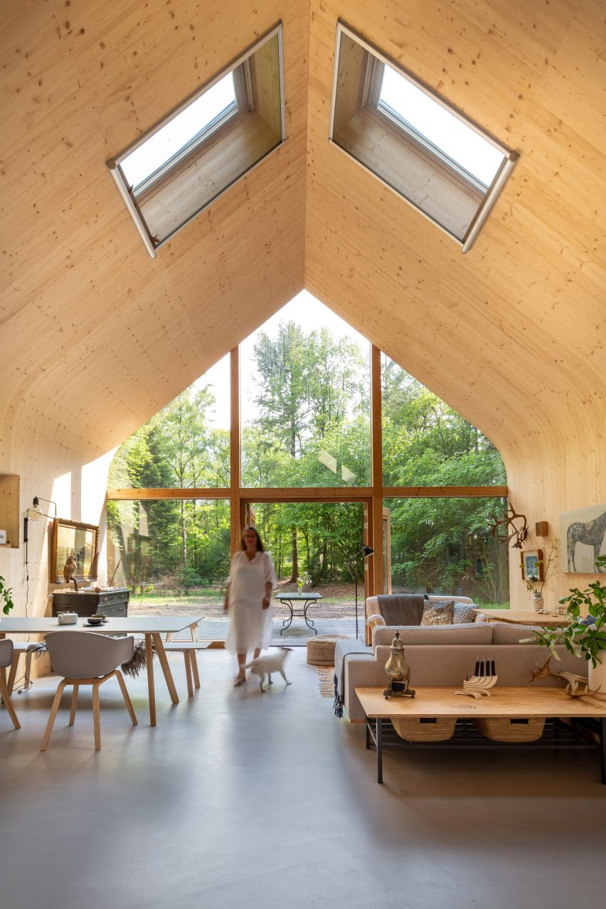 The curved interiors of an Indigo cabin