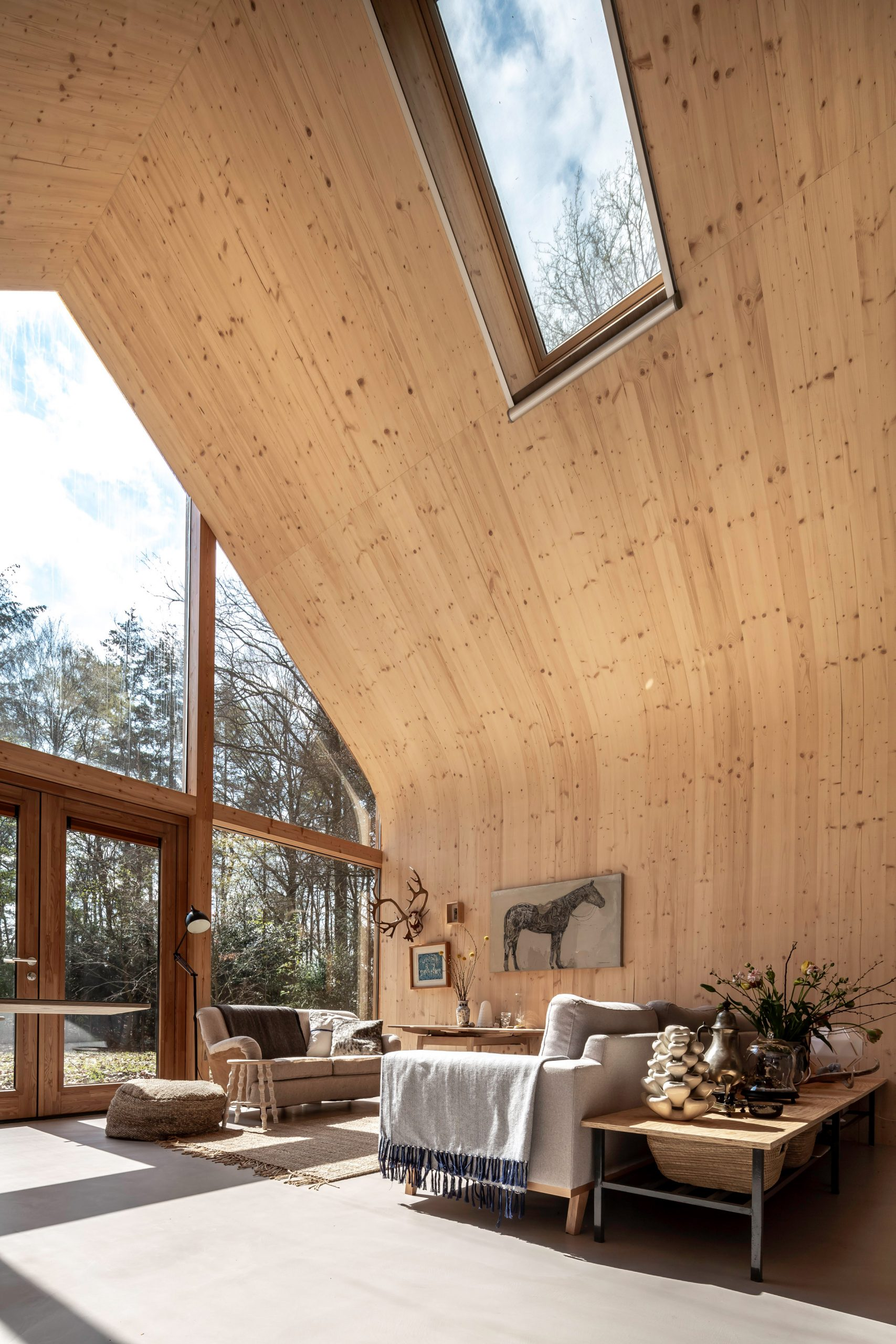 The curved walls of the Indigo cabin