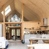 The wood-lined interiors of a Dutch house
