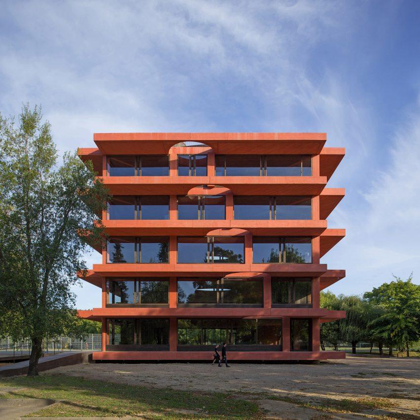 Glazed facade of INES innovation centre by Pezo von Ellrichshausen