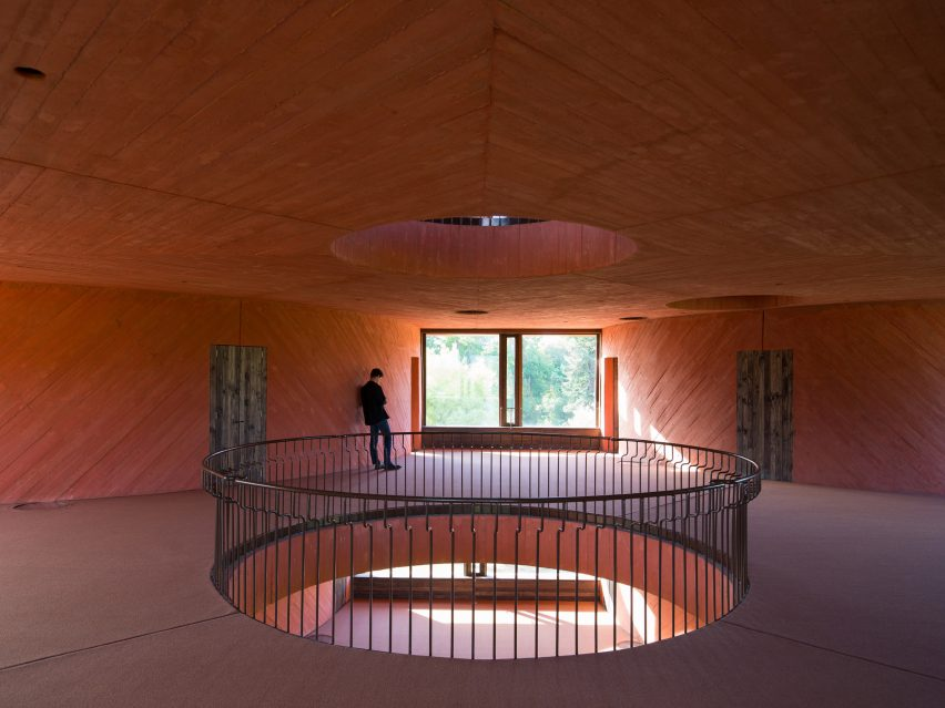 Circular voids in INES innovation centre by Pezo von Ellrichshausen