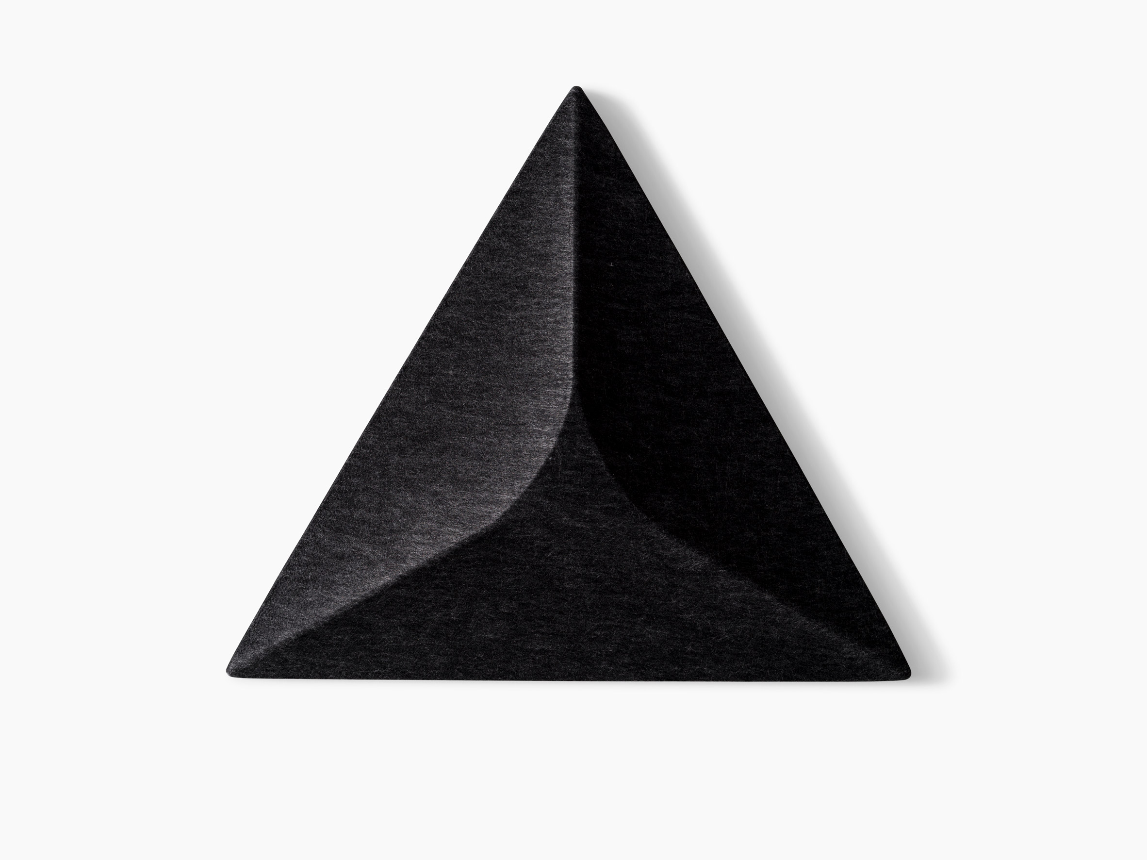 A triangular acoustic panel in black