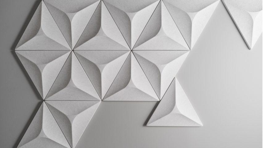 An arrangement of triangular acoustic panels