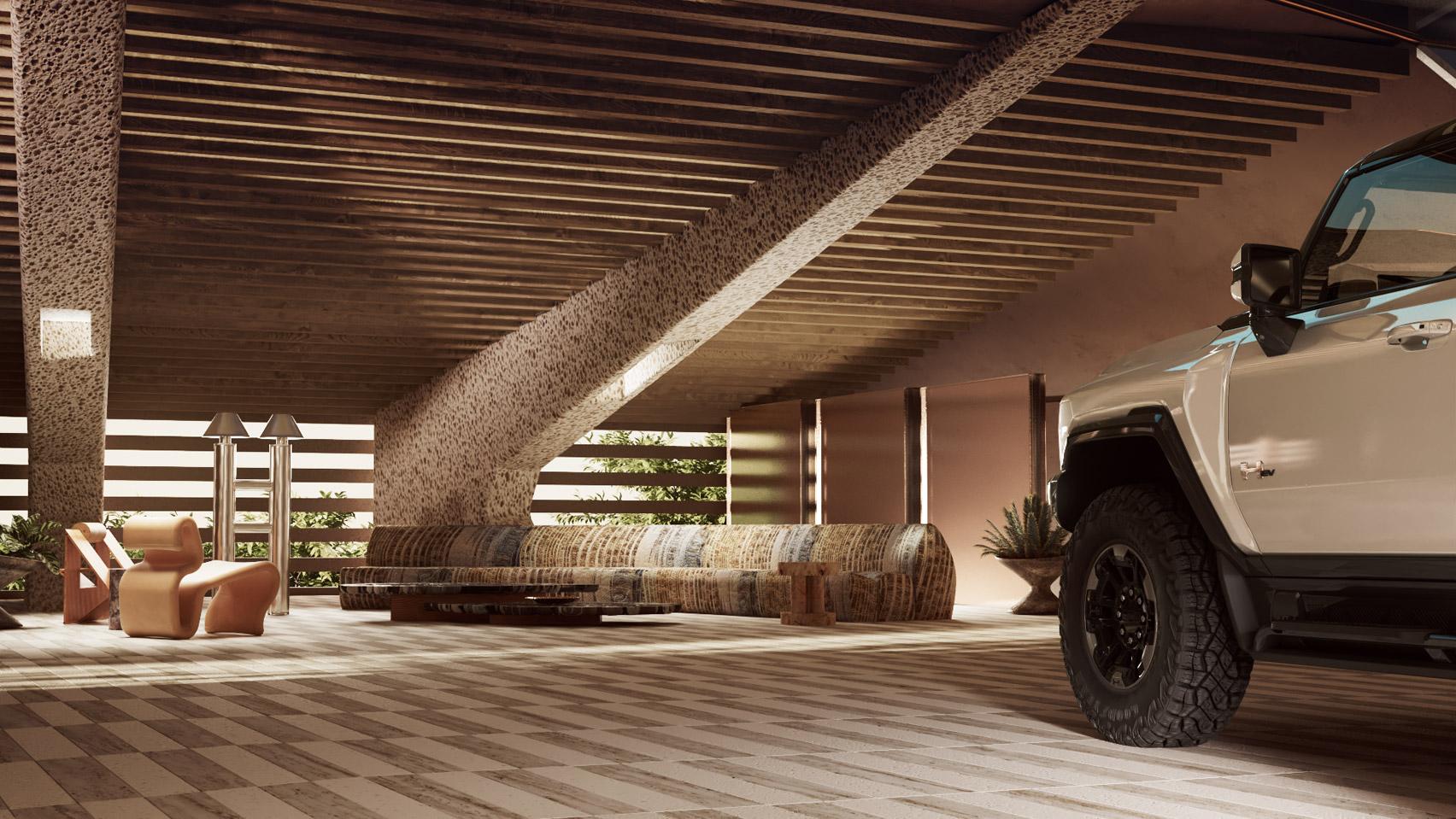 Virtual furniture in the Hummer EV garage