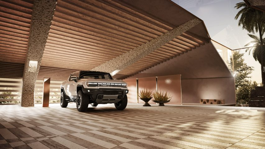 Hummer EV house garage by Kelly Wearstler