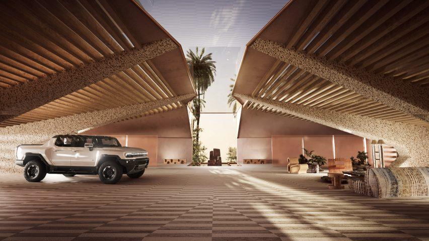 Virtual garage for LeBron James' electric Hummer