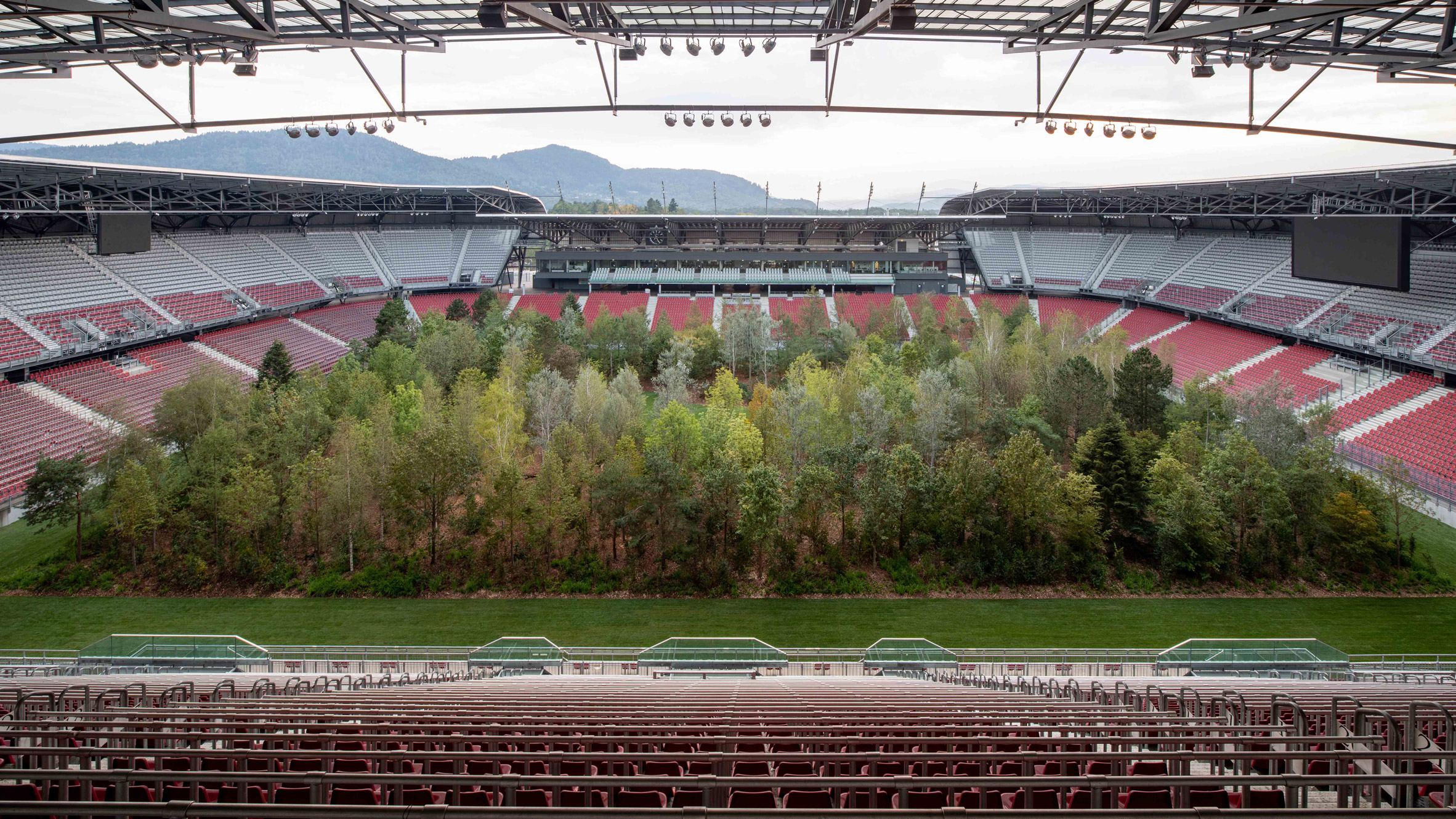 Wörthersee Stadion in Klagenfurt filled with trees