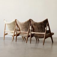 Three lounge chairs with sheepskin upholstery