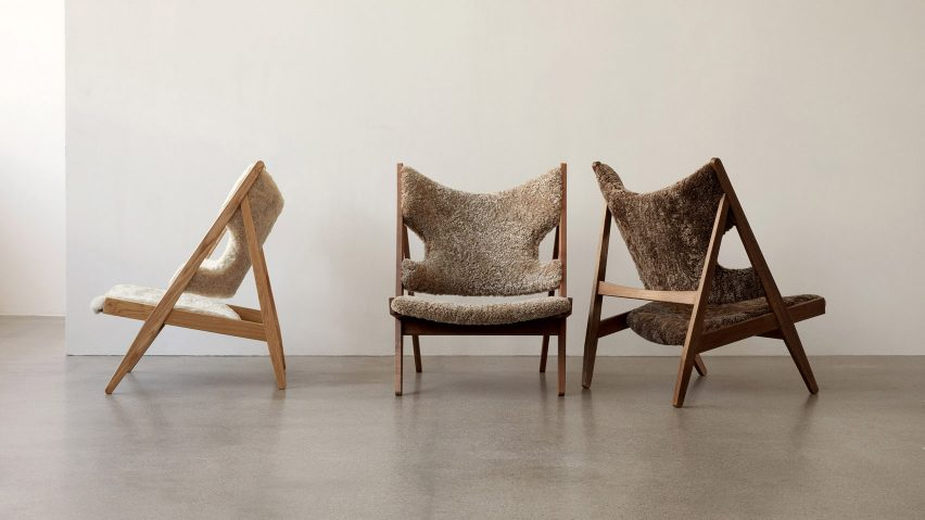 Three Knitting arm chairs with sheepskin upholstery