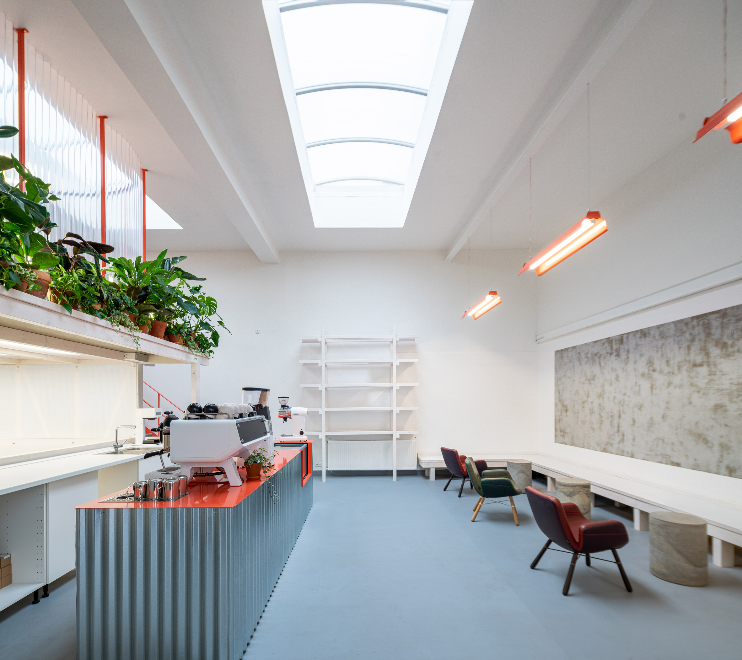 Skylight and seating area in Ground Coffee Hub