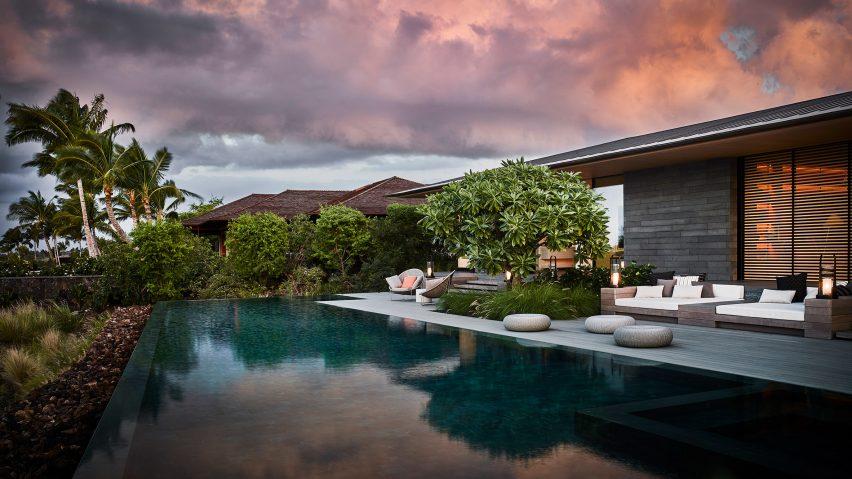 Kua Bay Residence by Walker Warner Architects has an infinity pool