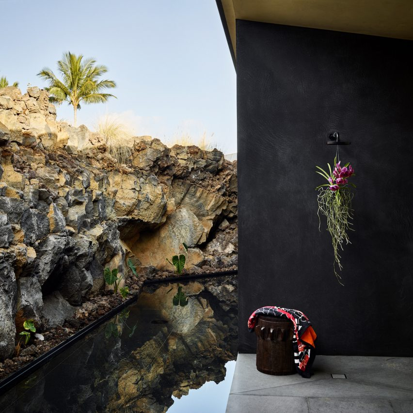 Kua Bay Residence is flanked by lava rock