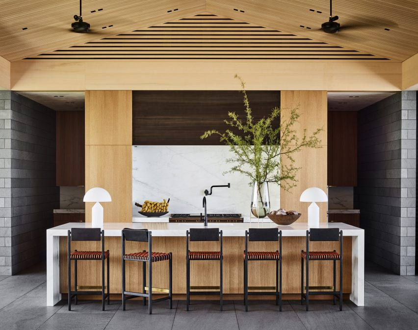 Wood and stone interior of house in Hawaii