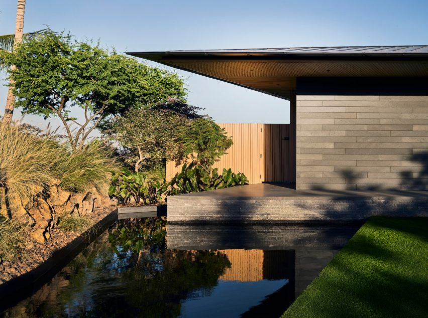 Reflective pool of house in Hawaii
