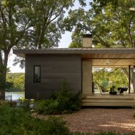 LaRue Architects incorporates breezeway into revamped cabin on Texas lake edge
