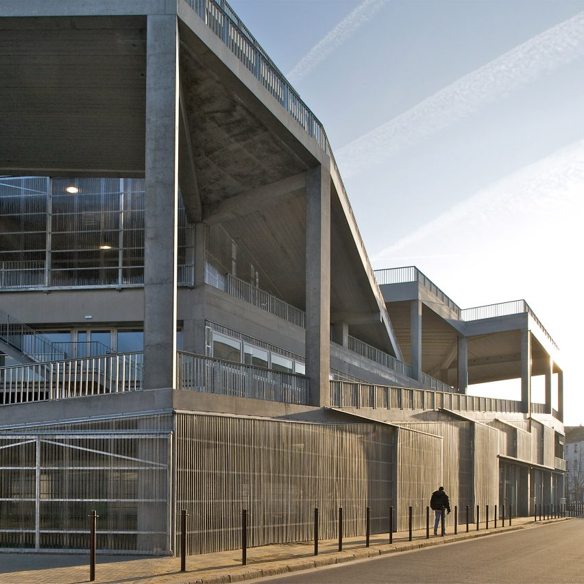 The concrete and metal exterior of a school in France