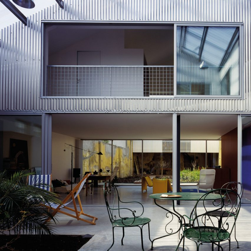 An internal courtyard of an industrial house