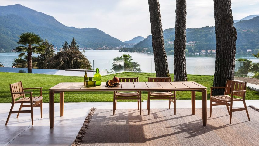 Levante dining collection by Piero Lissoni for Roda on a terrace