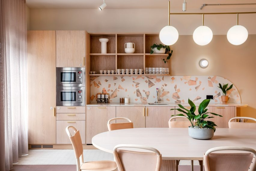 Pale pink kitchen with terrazzo details