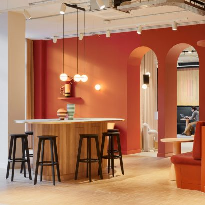 Orange walls inside London office