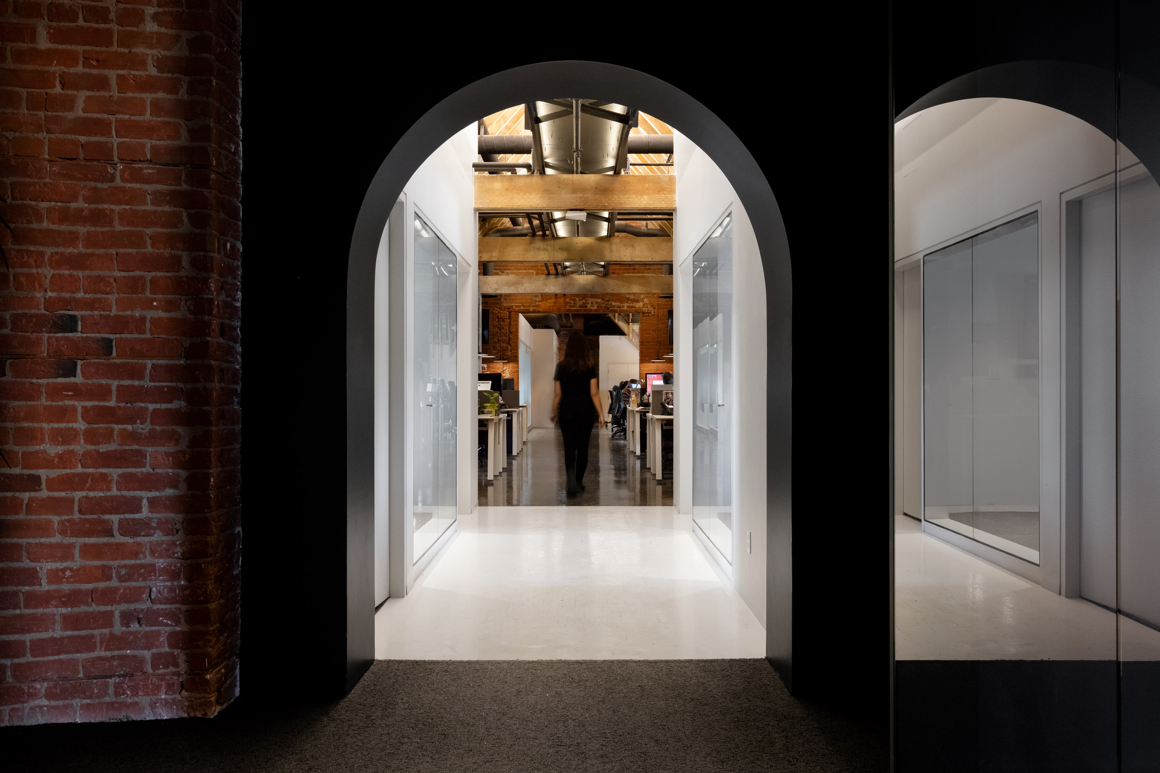 The central elevator hub of Lightspeed's offices