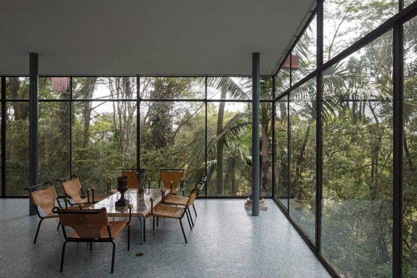 The interiors of Casa de Vidro by Lina Bo Bardi