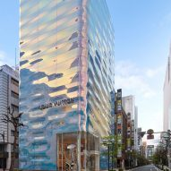 "Jun Aoki & Associates wraps Louis Vuitton's Tokyo store in ""poetic yet playful"" pearlescent facade"