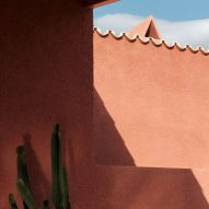 Reddish mortar on the walls of a Mallorcan holiday home