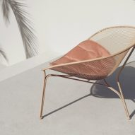 Luna outdoor chair by Charles Wilson for King Living in blush colour