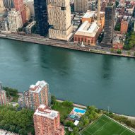 An aerial view of the pool mural on Manhattan's Roosevelt Island