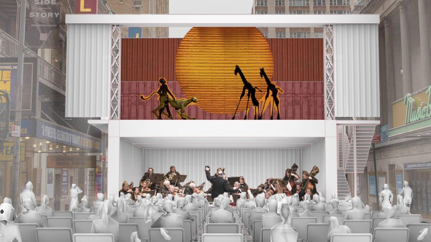 Open-air theatre from shipping container