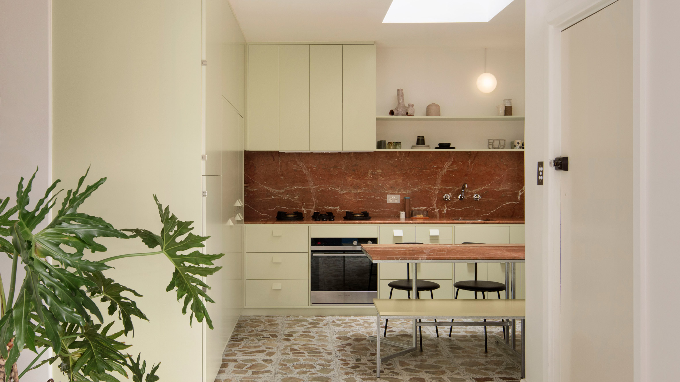 Pistachio green kitchen