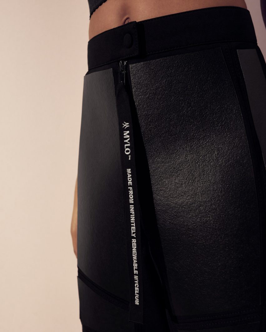 Close-up of Mylo leather on black trousers