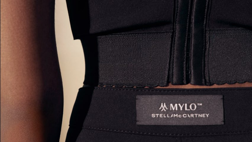 Close-up of co-ord by Stella McCartney made from Mylo mycelium leather