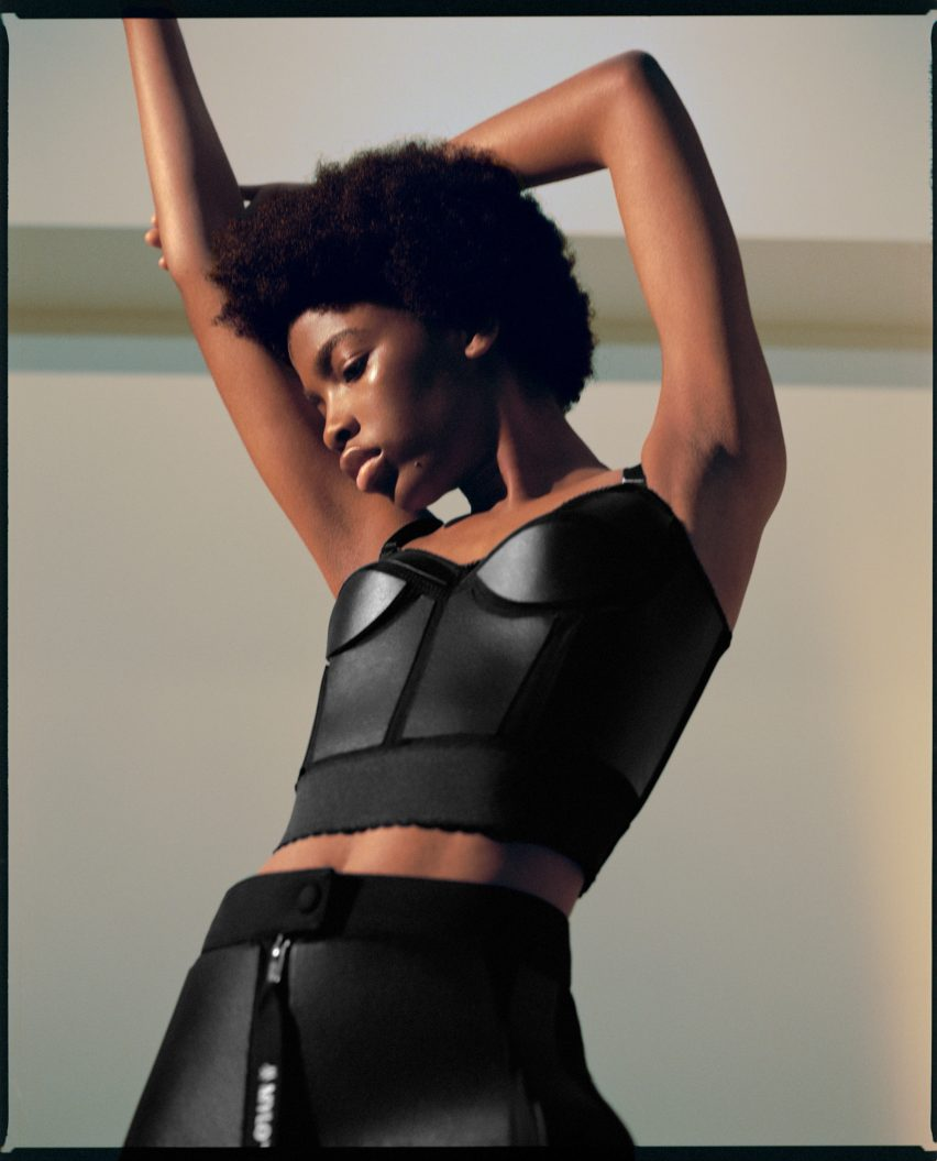 Model wearing black two-piece made from mycelium leather by Stella McCartney