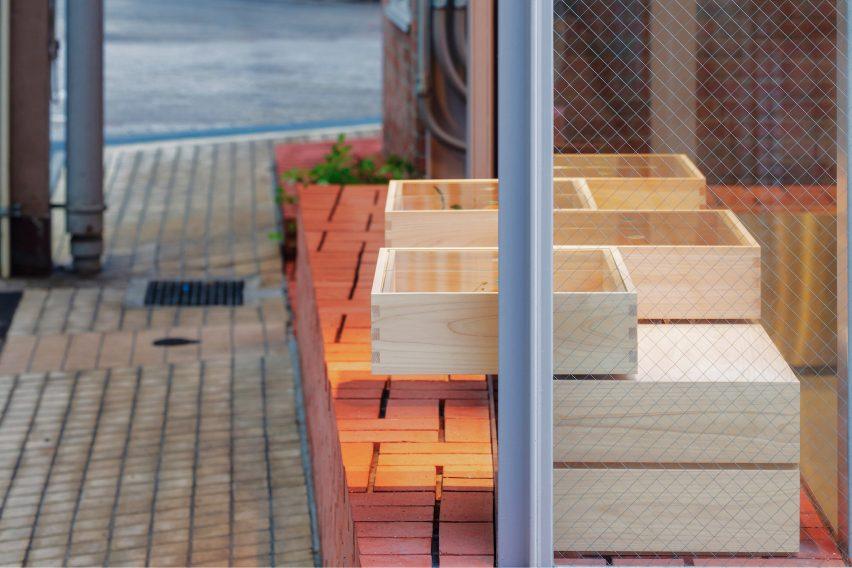 Brick counter of Japanese sweet store