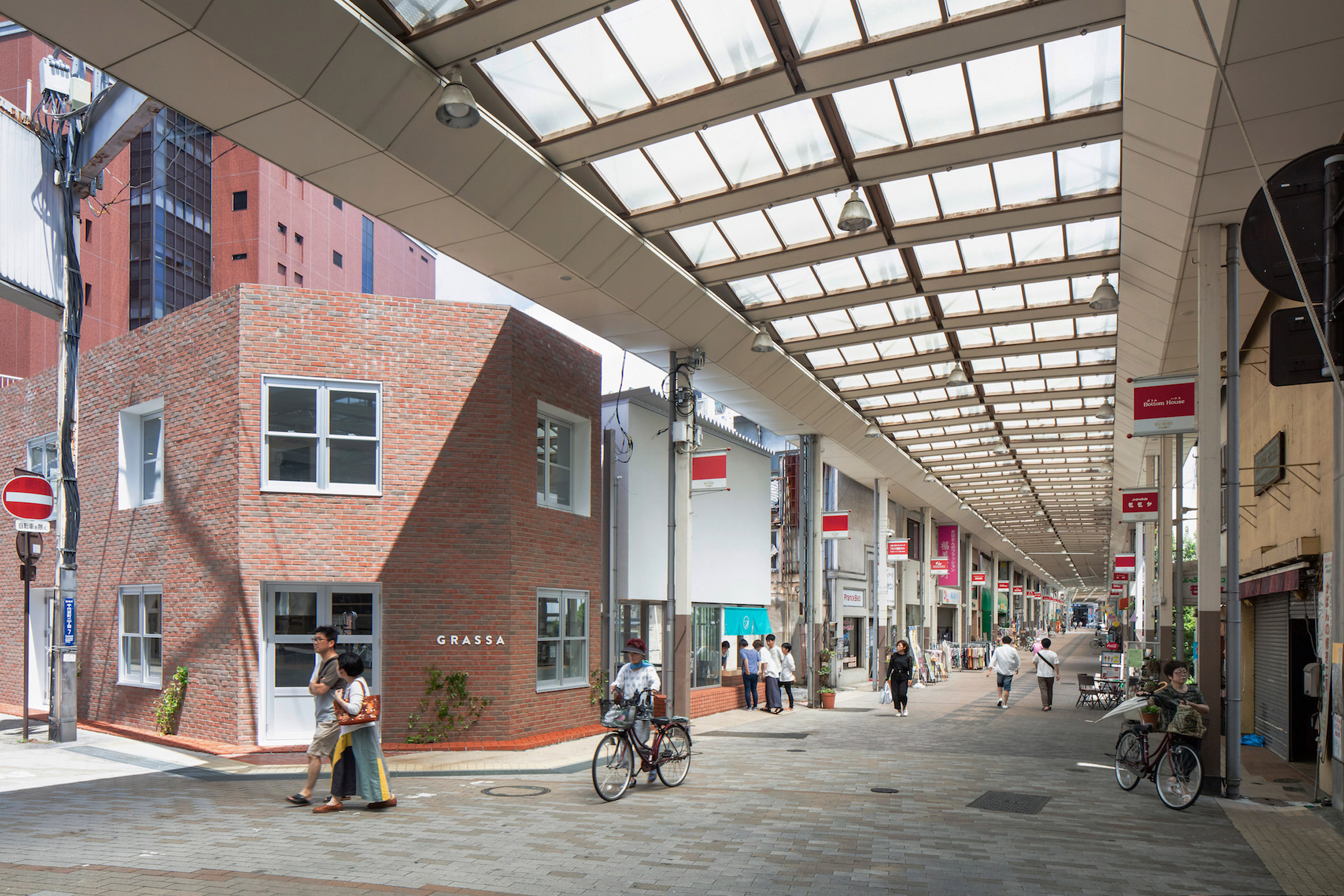Shopping street with brick buildings in Japan