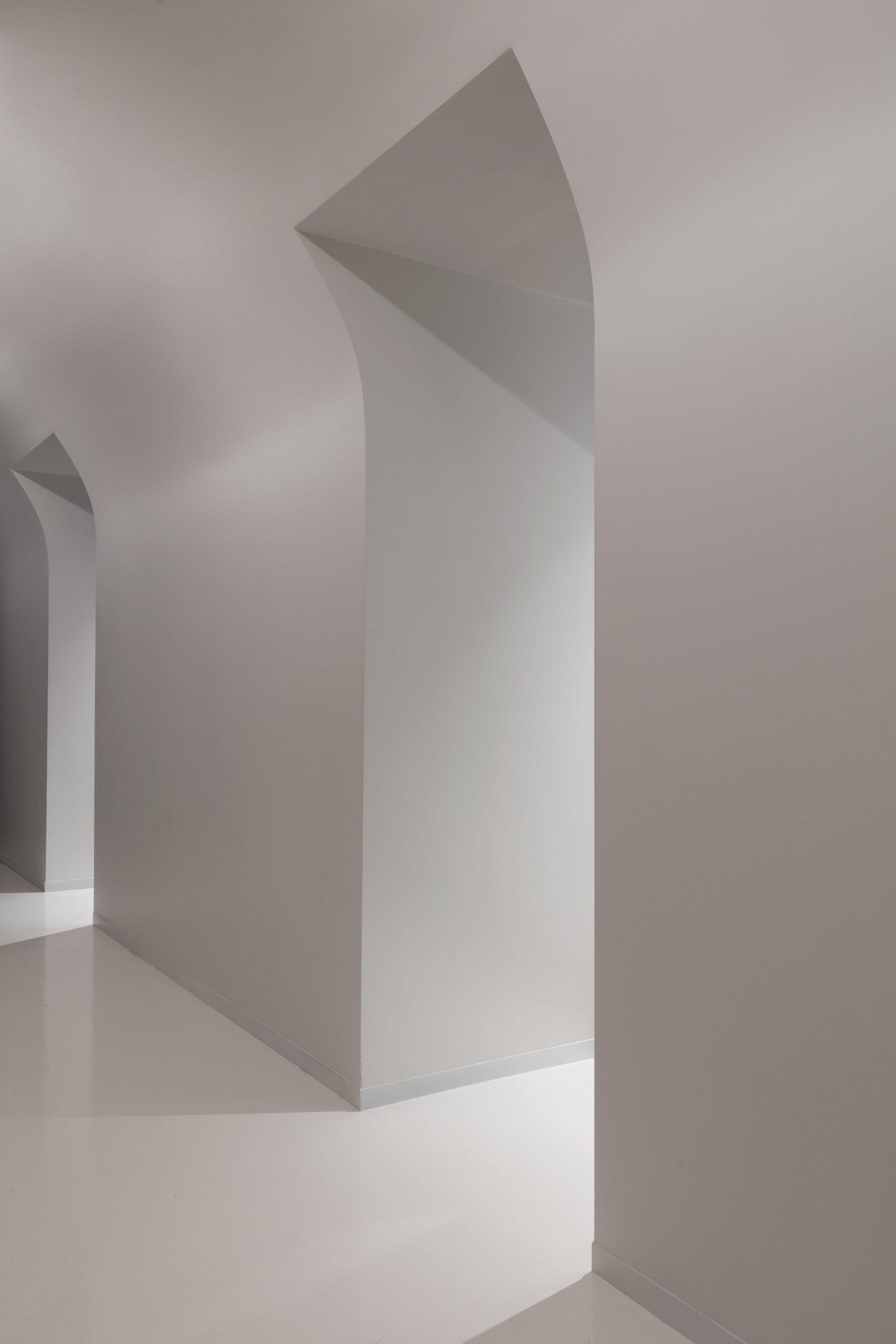 A bright white corridor