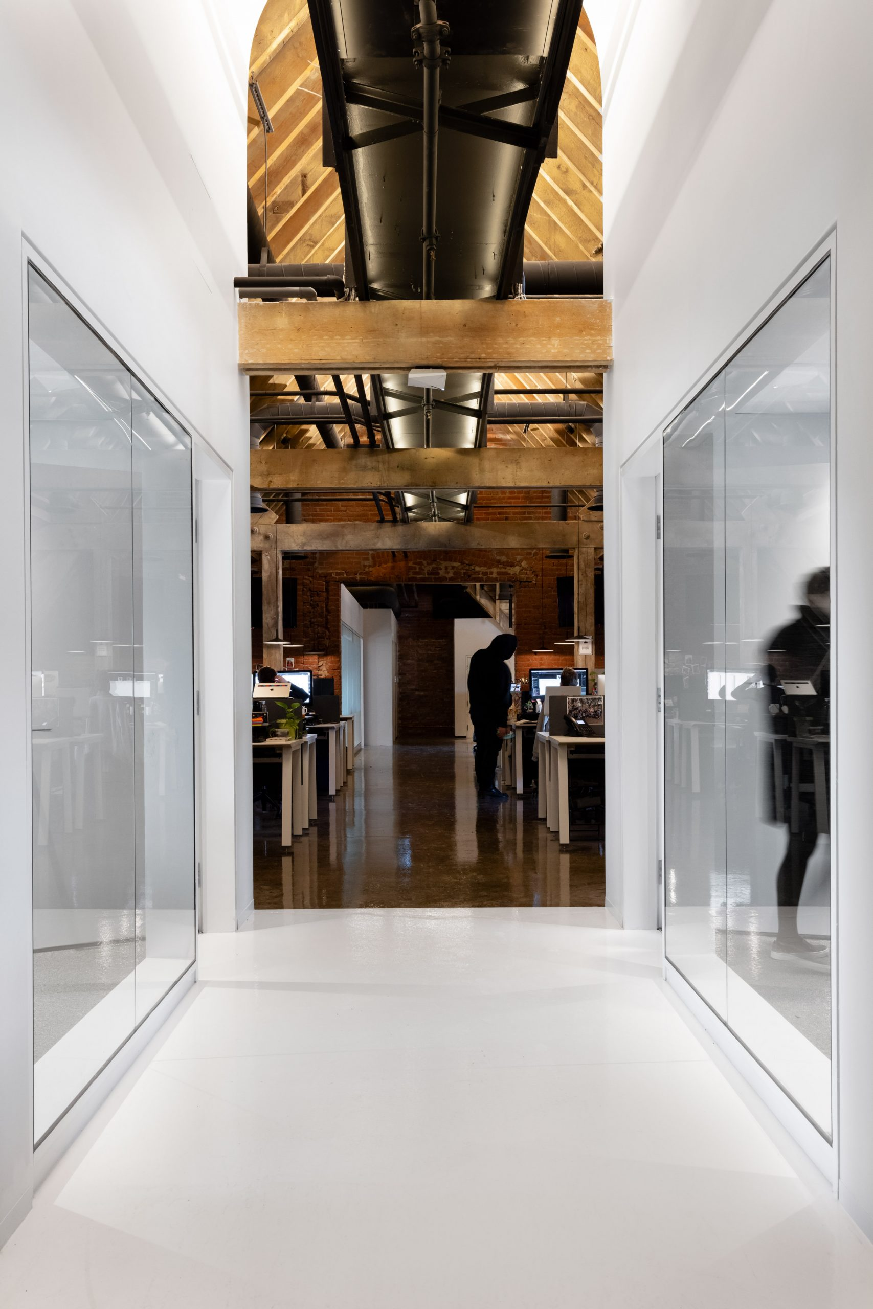 Wooden beams shown in the offices' ceilings