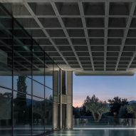 A brutalist building with a waffle slab ceiling