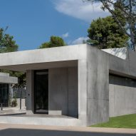 Angular concrete entrance pavilions