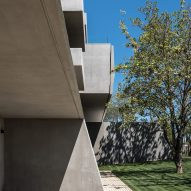 The concrete facade of an office