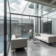 Glass-lined lounge spaces