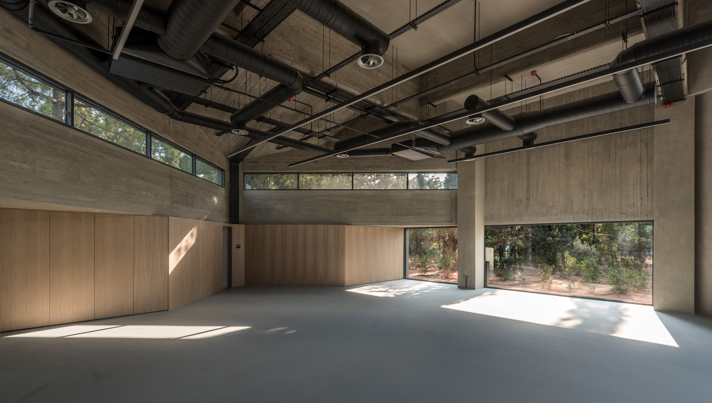 A concrete-lined events space
